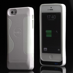 PC &amp; Silicone Hybrid Backup Battery Charger Case for iPhone 5 (2200mAh) - White