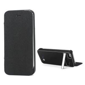 2800mAh External Backup Battery Charger Leather Case Stand for iPhone 5 - Black