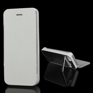2800mAh External Backup Battery Charger Leather Case Stand for iPhone 5 - White