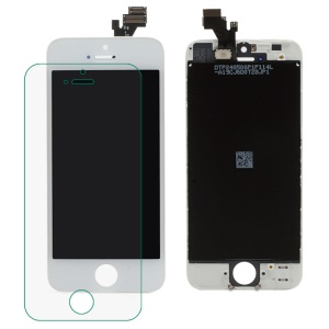 iPhone 5 LCD Assembly with Touch Screen and Digitizer Frame Bezel - White (Generic)