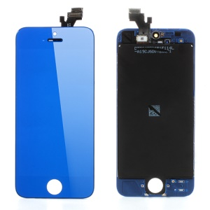 Blue For iPhone 5 Electroplating LCD Assembly w/ Touch Screen + Digitizer Frame + Front Camera Holder + Earpiece Mesh + Sensor IC Holder