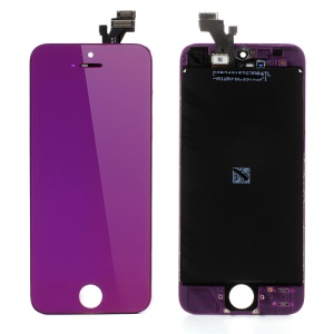 Purple For iPhone 5 Electroplating LCD Assembly w/ Touch Screen + Digitizer Frame + Front Camera Holder + Earpiece Mesh + Sensor IC Holder
