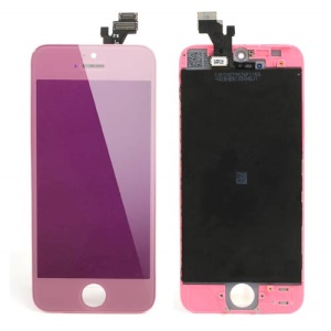 Pink for iPhone 5 Electroplating LCD Assembly w/ Touch Screen + Digitizer Frame + Front Camera Holder + Earpiece Mesh + Sensor IC Holder