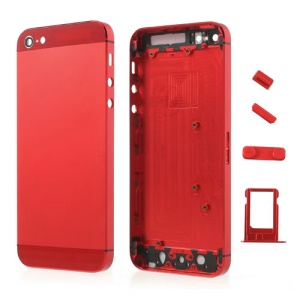 Red Metal Full Housing Faceplates for iPhone 5 w/ Buttons SIM Card Tray