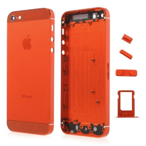 Orange Metal Full Housing Faceplates for iPhone 5 w/ Buttons SIM Card Tray