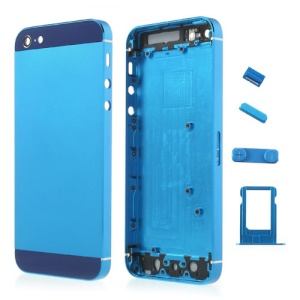Dark Blue Metal Full Housing Faceplates for iPhone 5 w/ Buttons SIM Card Tray