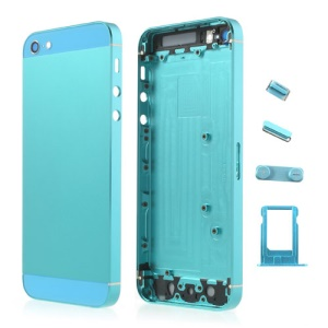 Light Blue Metal Full Housing Faceplates for iPhone 5 w/ Buttons SIM Card Tray