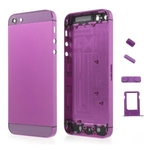 Purple Metal Full Housing Faceplates for iPhone 5 w/ Buttons SIM Card Tray