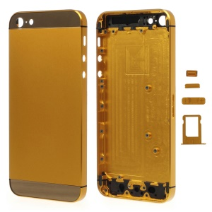 Gold Metal Full Housing Faceplates for iPhone 5 w/ Buttons SIM Card Tray