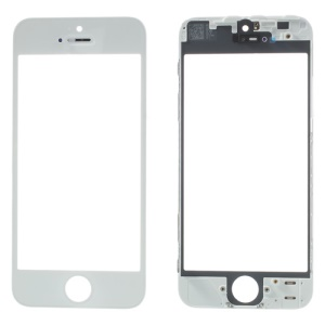 OEM Outer Glass Lens with Frame Bezel for iPhone 5 - White