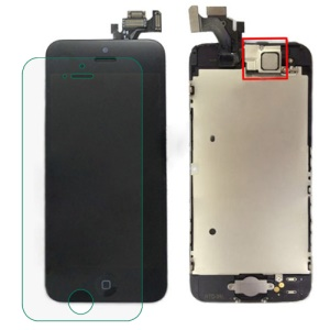Black for iPhone 5 LCD Assembly w/ Touch Screen + Digitizer Frame + Front Camera Lens + Home Button + Earpiece