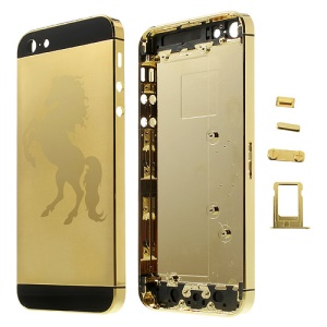 Glossy Horse Plated Full Housing Faceplates for iPhone 5 w/ Side Buttons SIM Card Tray - Gold / Black