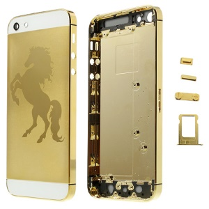 Glossy Horse Plated Full Housing Faceplates for iPhone 5 w/ Side Buttons SIM Card Tray - Gold / White