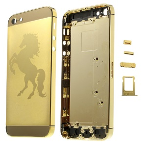 Glossy Horse Plated Full Housing Faceplates for iPhone 5 w/ Side Buttons SIM Card Tray - Gold
