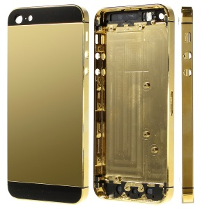 Plated Metal for iPhone 5 Back Cover Housing with Middle Frame Bezel -  Black / Gold