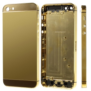 Plated Metal for iPhone 5 Back Housing Cover with Middle Frame Bezel -  Gold