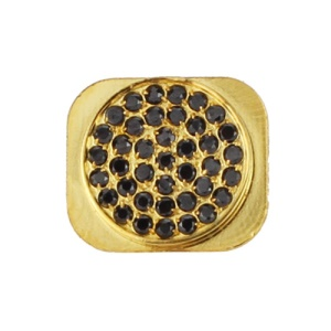 Bling Bling Black Rhinestone Home Button Key for iPhone 5 - Gold