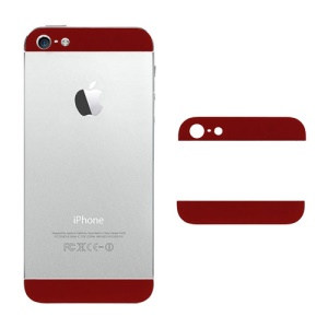 Top and Bottom Glass Cover Replacement for iPhone 5 Back Housing - Red