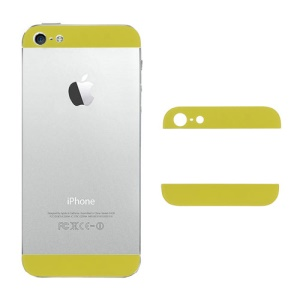 Top and Bottom Glass Cover Replacement for iPhone 5 Battery Cover - Yellow