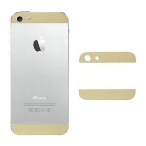 Top and Bottom Glass Cover Replacement for iPhone 5 Back Housing - Gold