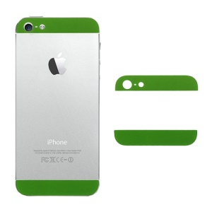 Top and Bottom Glass Cover Replacement for iPhone 5 Back Housing - Green