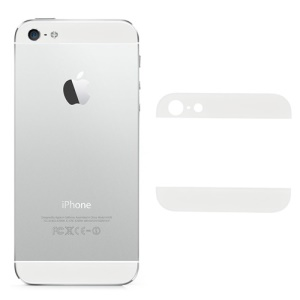 Glass Top and Bottom Cover Repair Parts for iPhone 5 Back Housing - White