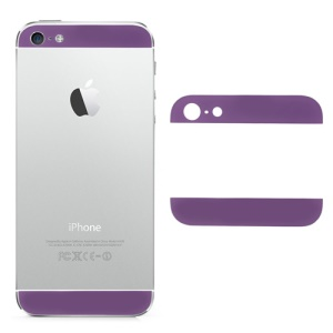 Top and Bottom Glass Cover Replacement for iPhone 5 Back Housing - Purple