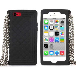 Black Soft Grid Pattern Silicone Case w/ Chain for iPhone 5c