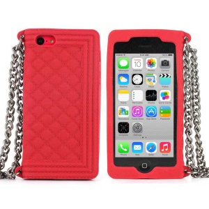 Red Soft Grid Pattern Silicone Case w/ Chain for iPhone 5c