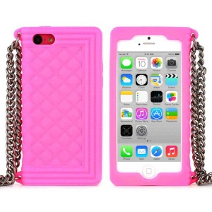 Rose Soft Grid Pattern Silicone Case w/ Chain for iPhone 5c