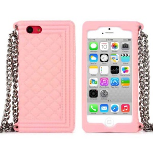 Pink Soft Grid Pattern Silicone Cover w/ Chain for iPhone 5c