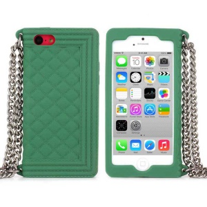 Green Soft Grid Pattern Silicone Cover w/ Chain for iPhone 5c