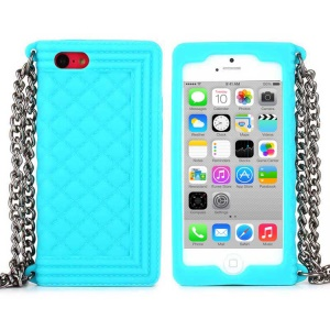 Baby Blue Soft Grid Pattern Silicone Cover w/ Chain for iPhone 5c