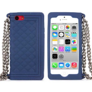 Dark Blue Soft Grid Pattern Silicone Shell for iPhone 5c w/ Chain