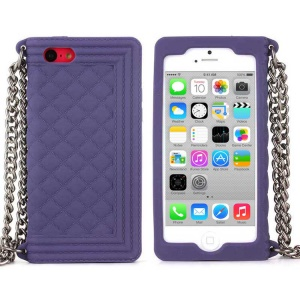Purple Soft Grid Pattern Silicone Shell for iPhone 5c w/ Chain