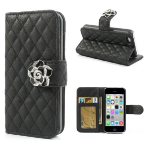 Black Diamond Camelia Rhombus Card Slots Stand Leather Case for iPhone 5c