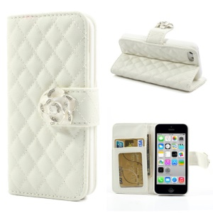 White Diamond Camelia Rhombus for iPhone 5c Wallet Stand Leather Case