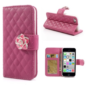 Rose Diamond Camelia Rhombus for iPhone 5c Leather Cover w/ Wallet & Stand