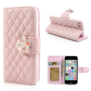 Pink Diamond Camelia Rhombus for iPhone 5c Leather Case w/ Wallet & Stand