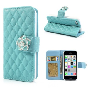 Blue Diamond Camelia Rhombus for iPhone 5c Leather Case w/ Wallet & Stand