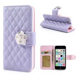 Purple for iPhone 5c Diamond Camelia Rhombus Leather Case w/ Wallet & Stand