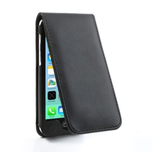 Black for iPhone 5c Protective Vertical Magnetic Leather Case w/ Card Slot