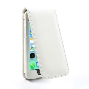 White for iPhone 5c Vertical Magnetic Leather Cover w/ Card Slot