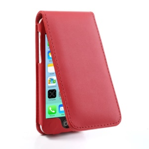 Red for iPhone 5c Vertical Magnetic Leather Cover w/ Card Slot