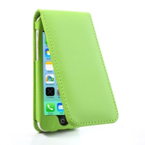 Green Vertical Magnetic Leather Case for iPhone 5c w/ Card Slot