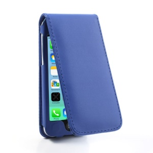Blue Vertical Magnetic Card Slot Leather Case for iPhone 5c