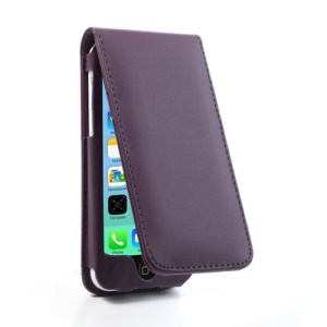 Purple Vertical Magnetic Card Slot Leather Flip Cover for iPhone 5c