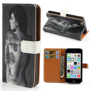 Sexy Lady Image Printed for iPhone 5c Folio Stand Leather Wallet Case