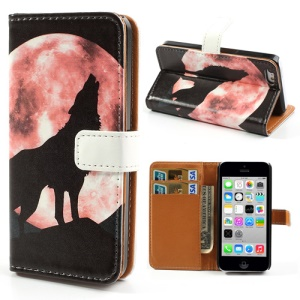 For iPhone 5c Stand Leather Wallet Cover w/ Wolf Howling at the Moon Pattern