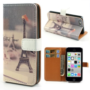 Eiffel Tower Printed Leather Wallet Cover with Stand for iPhone 5c